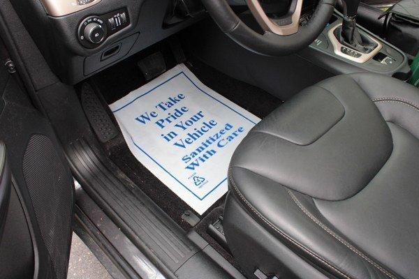 Sanitized Car Mat Notice